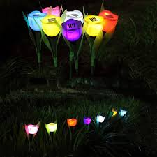 Landscape Led Lights 7pcs Outdoor Solar Powered Tulip Flower Led Light Yard Garden Path