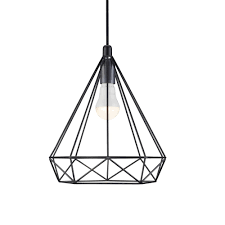 wire pendant light fixtures contemporary geometric wire frame ceiling pendant in black