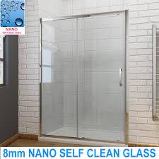 bathroom sliding shower door enclosure screen cubicle 8mm nano