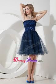 blue a line beading strapless knee length organza prom dress