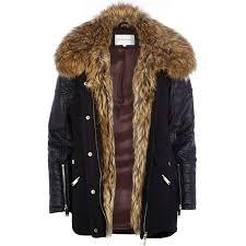 river island black faux fur collar wool parka jacket in black lyst