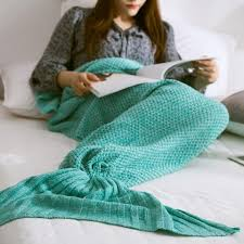 Knitting Home Decor Mint Green L Handmade Knitted Home Decor Mermaid Tail Blanket