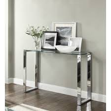Glass Hallway Table Signature Console Hallway Table Glass Top Chrome Stand Display
