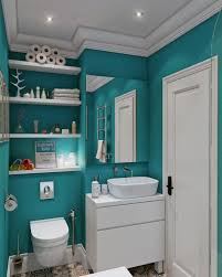 contemporary teal bathroom wall color scheme with wooden shelves