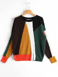 slit sweater slit color block cable knit sweater multicolor sweaters one size