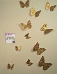 Butterfly 3d Wall Art by 3d Gold Butterfly Wall Art Small Butterflies Swarm Of Gold