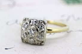 vintage square engagement rings vintage engagement ring cluster ring ring square cluster