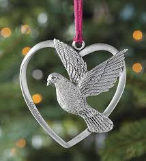 solid pewter dove christmas ornament inside a heart a peace dove