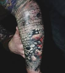 realism style detailed arm tattoo of stone wall with fingers