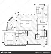 Floor Plan Of A Bedroom Black And White Architectural Plan Of A House Layout Of The