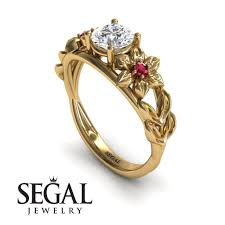floral engagement rings flower engagement ring 14k yellow gold 0 84 carat cut