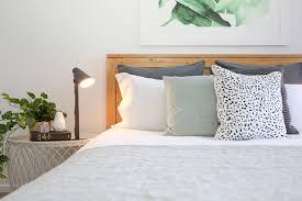 master bedroom funky styling banana leaf print grey linen euro
