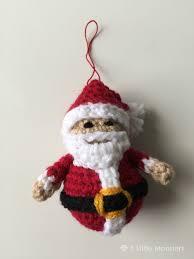 5 monsters crocheted santa ornament
