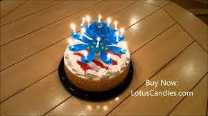 blue lotus candle on tres leches birthday cake youtube