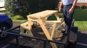 Foldable Picnic Table Bench Plans by Convertible Folding Picnic Table Bench Plans Available Youtube