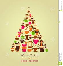 vintage christmas tree coffee icons royalty free stock images