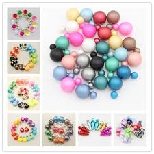 sided stud earrings 2017 candy colors mix styles wholesale pearl sided stud