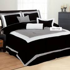 White Gray Comforter New 7 Pc Black White Gray Bedding With Black Wooden Painted Sleigh