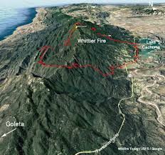 Washington Fire Map by Whittier Fire Was Very Active Sunday But Was Slowed Overnight By