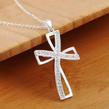 cross necklace images 925 sterling silver plated women cross necklace crystal chain jpg