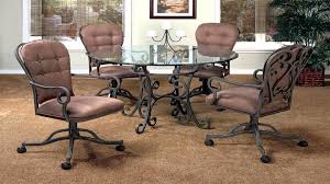 Kitchen Chairs On Wheels Swivel Caster Dining Room Chairs Delightful Chair With Casters And Round