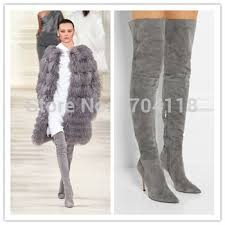 womens boots grey suede sale high quality pointed toe grey suede thigh high boots 2015
