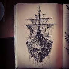 rose skull and ship tattoo sketch real photo pictures images