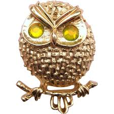Owl Item by Vintage Sarah Coventry Owl Brooch W Chartreuse Rhinestone Eyes