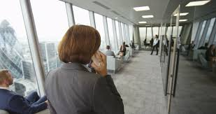 Office View by 4k Portrait Serious Mature Businesswoman In London City Office