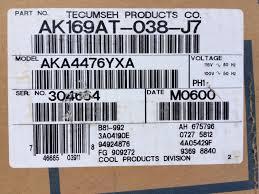 tecumseh 115 volt refrigeration compressor ak169at 038 j7