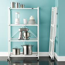 Free Standing Storage Shelf Plans by Origami 4 Shelf Folding Rack The Container Store