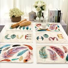 napperon de cuisine coton tissu plumes colorées napperon maison décor dessin tasse tapis