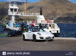 ferry porsche porsche and lamborghini sports cars disembarking corran ardgour