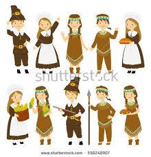 illustration set thanksgiving american pilgrim stock vector