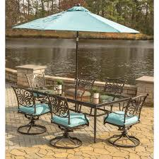 Outdoor Table Umbrella Traditions 7 Piece Dining Set In Blue With Extra Large Glass Top