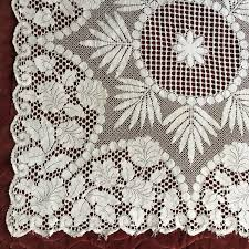 vintage or antique machine made lace tablecloth floral pattern