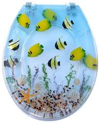 themed toilet seats showers tropical fish toilet seat cover your bathroom