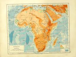 Africa Physical Map by 14 Print 1918 Map Algeria Tunis Gulf Gabes Africa Physical 073e364