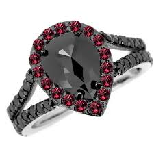 black ruby rings images 3 20ct pear cut black diamond ruby engagement halo ring jpg