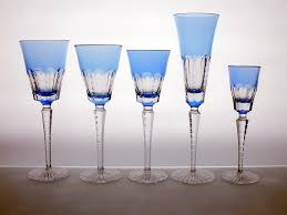 home accessories lynn crystal wine glasses with blue accent for