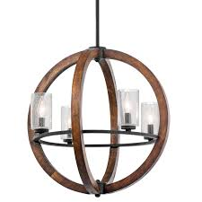 Kichler Lighting Chandeliers Kichler 43185aub Four Light Chandelier Rustic Chandelier