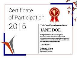 participation certificate template free printable seminar