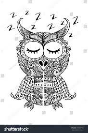 sleeping owl decorative ornamental style stock vector 375937141