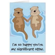 happy birthday card w otters holding zazzle