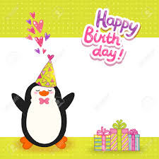 happy birthday card background with cute penguin vector holiday