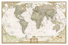 World Map Art Print by National Geographic World Map Poster Antique Tones Wall Map