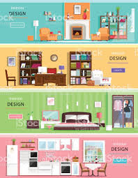 Interior Design Ideas 1 Room Kitchen Flat Set Of Colorful Vector Interior Design House Rooms With Furniture