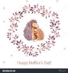 hand painted greeting card mothers day stock illustration