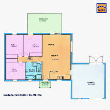 plan maison plain pied 3 chambres 100m2 plan maison 100m2 plein pied 3 chambres trendy plan maison plain