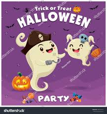 vintage halloween poster design vector ghost stock vector